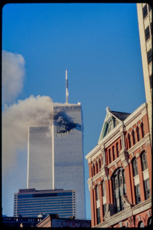 Tower 1 Burning with 97 Hudson in Foreground (2).jpg