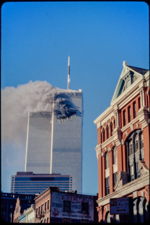 Tower 1 Burning with 97 Hudson in Foreground (4).jpg