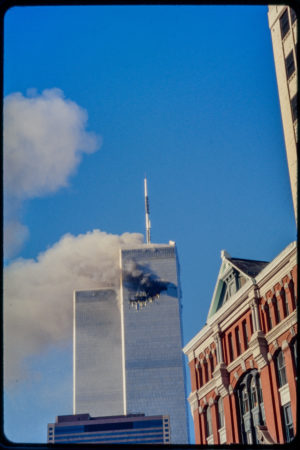 Tower 1 Burning with 97 Hudson in Foreground.jpg