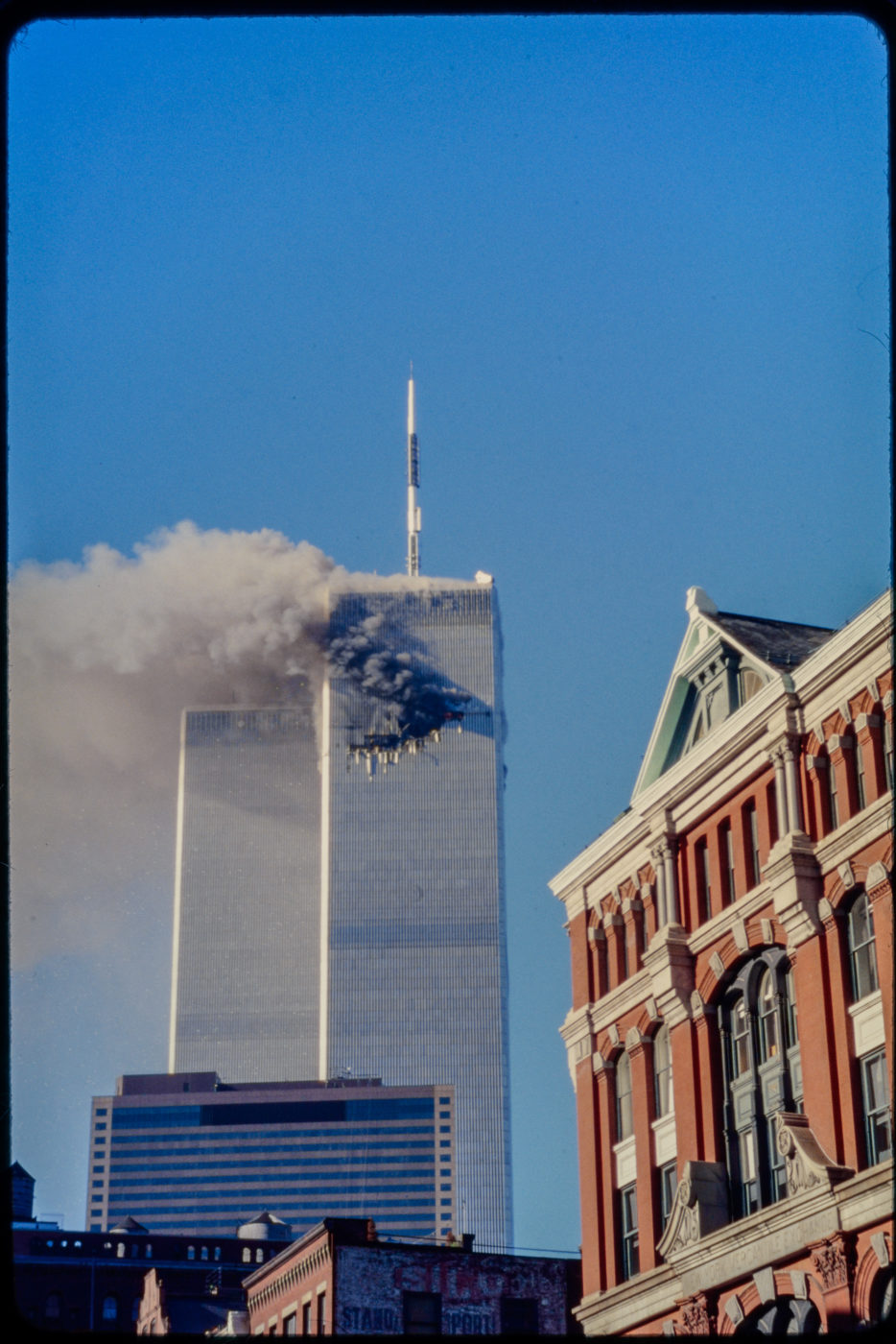 Tower1 Burning as seen from Franklin and Hudson.jpg
