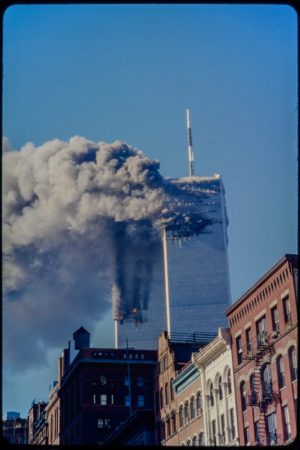 Towers Burning as seen from Hudson and Harrison.jpg