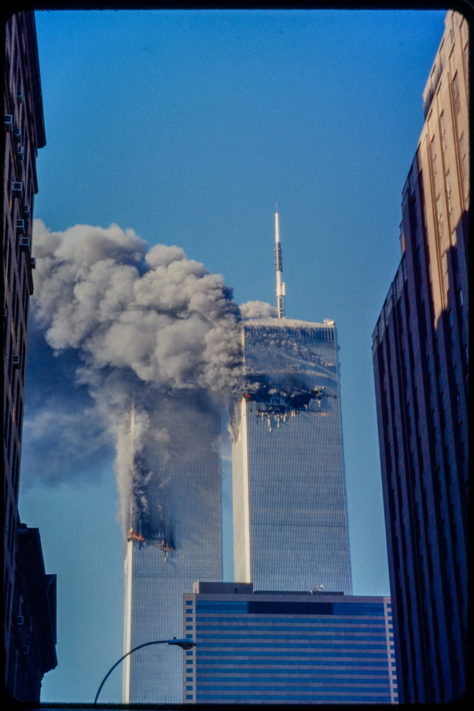 Towers Burning with 60 Worth Street on right.jpg