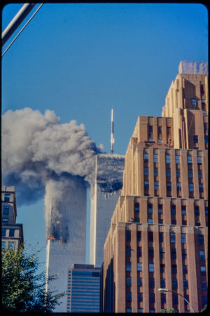 Twin Towers Burning moments after Tower 2 was Hit.jpg
