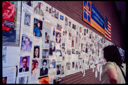 Visitor at the Wall of Hope and Remembrance at St. Vincent_s Hospital.jpg