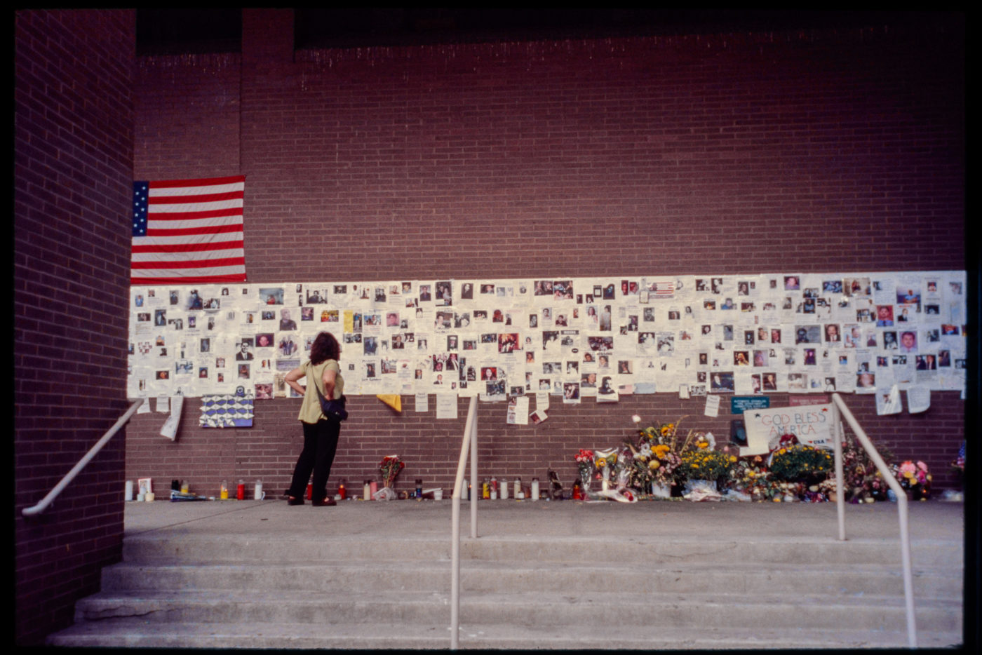 Wide Angle of Visitor at the Wall of Hope and Remembrance at St. Vincent_s Hospital.jpg