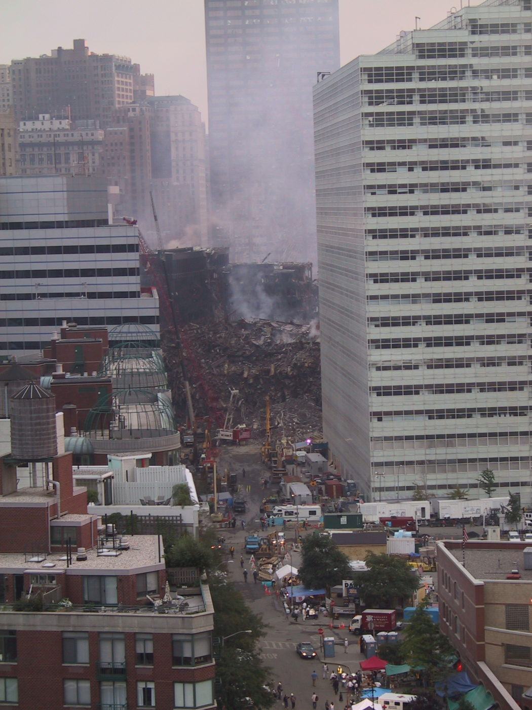 Crane Working at Crumbling WTC3 from 335 Greenwich Street.JPG