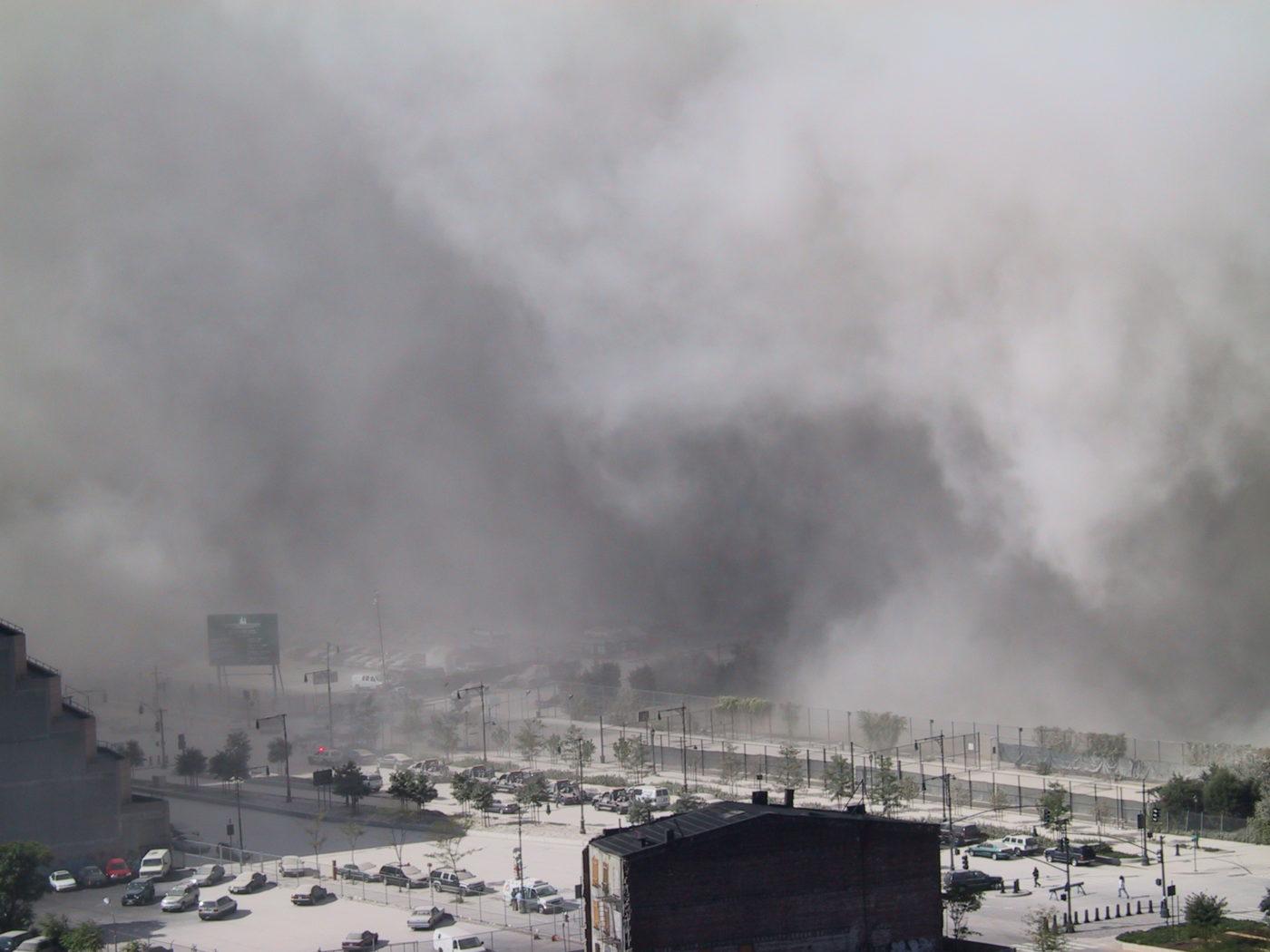 Dark Smoke Descending onto Cars on the West Side.JPG