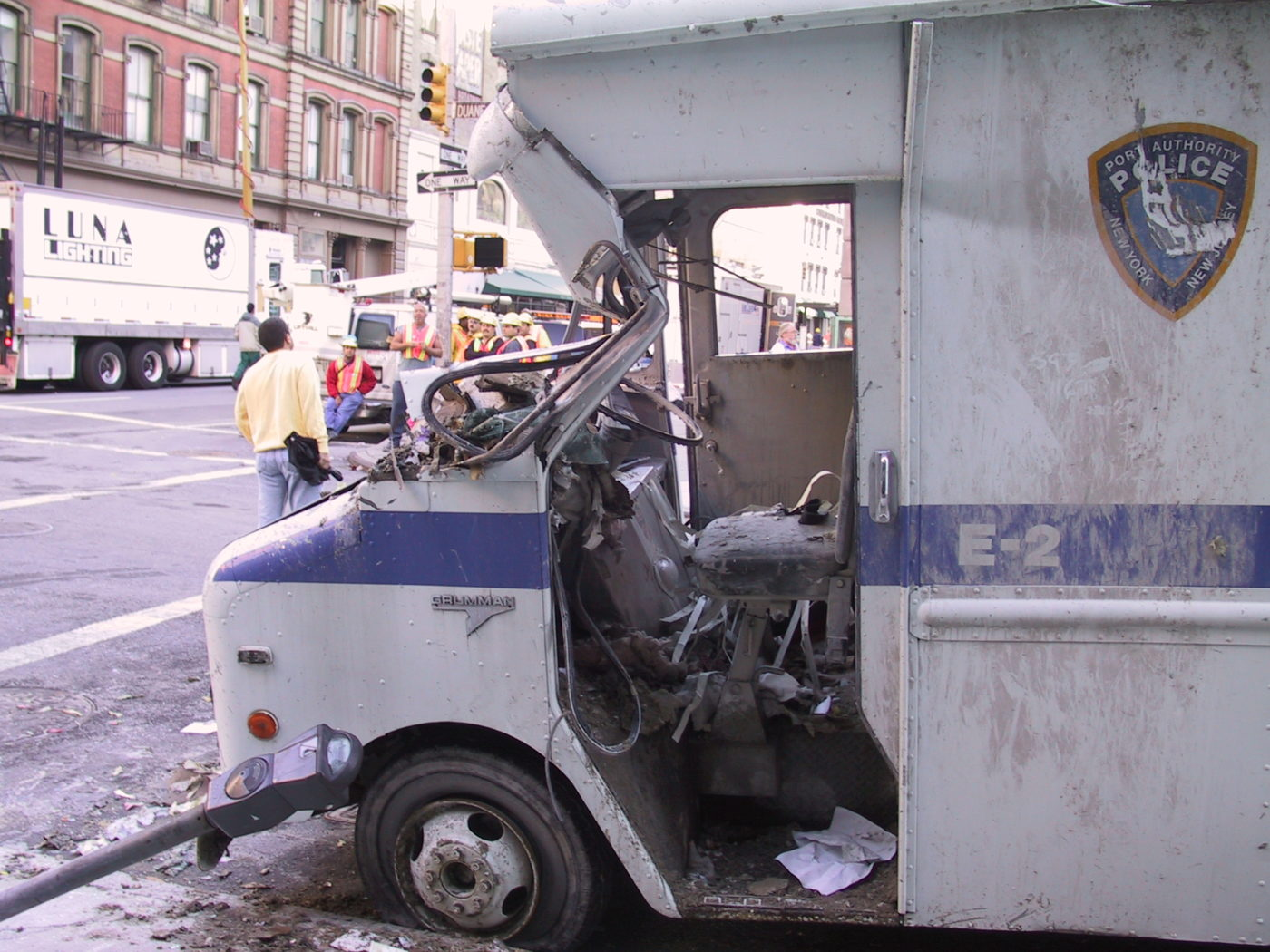 Destroyed Port Authority Police Van at the Corner of Duane and Broadway.JPG