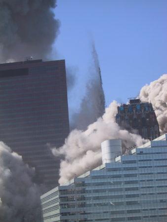 Falling WTC Exoskeleton Behind .JPG