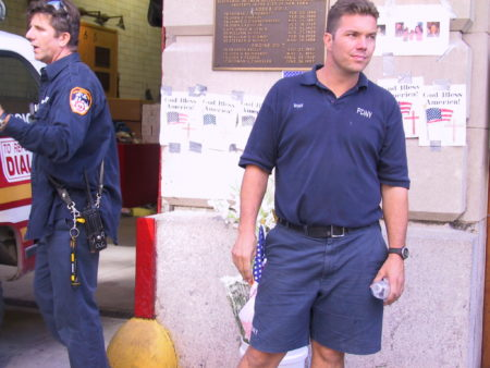 Firefighter Ryan and Unknown Firefighter Outside out of Engine 7.JPG