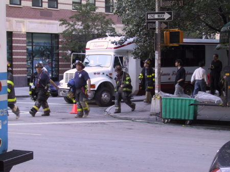 Firefighters Crossing at Reade and Hudson Streets.JPG