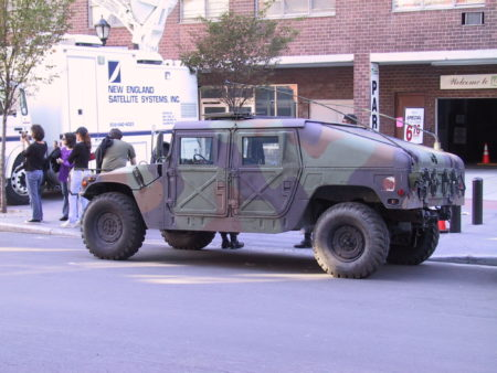 Pedestrian Onlookers Beside Military Vehicle in front of 40 Harrison.JPG