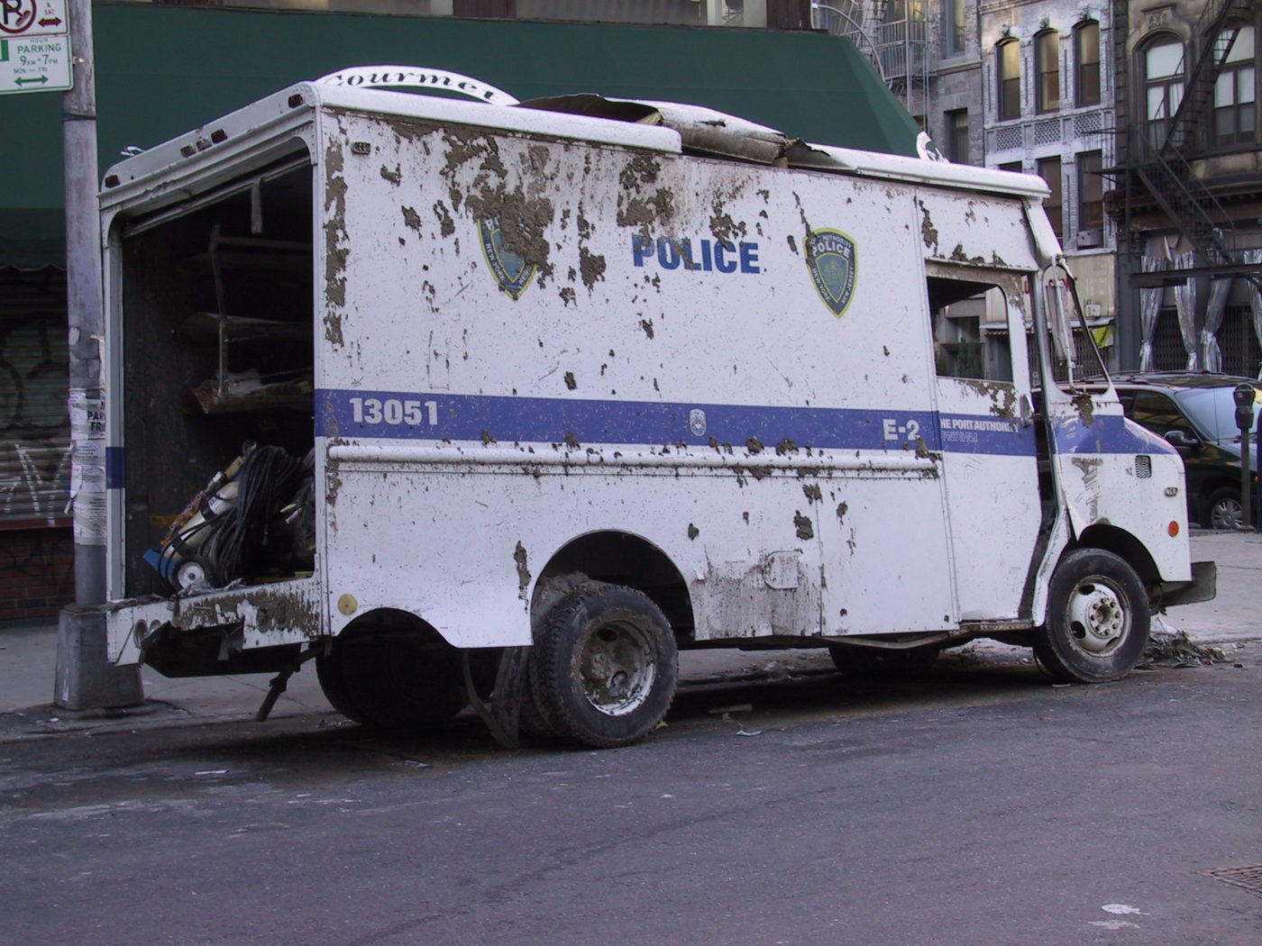 Port Authority Police Van Dented and Covered in Dirt and Dust from the Fallout.JPG