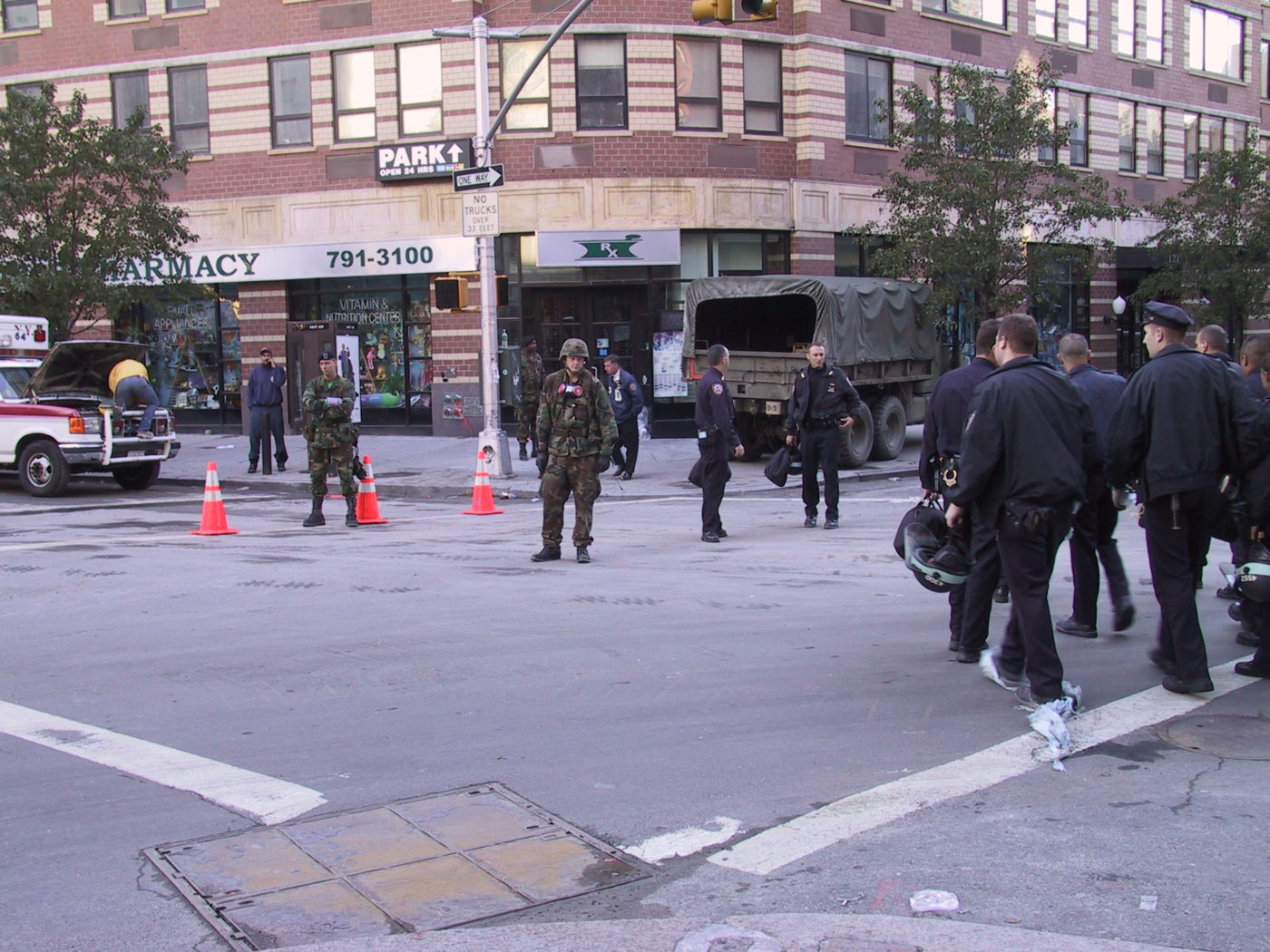 Roadblock with Police and the Army at the Corner of Hudson and Reade St.JPG