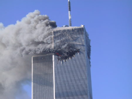 Smoke and Fire Rising From the Visible Impact of the Plane into WTC1.JPG
