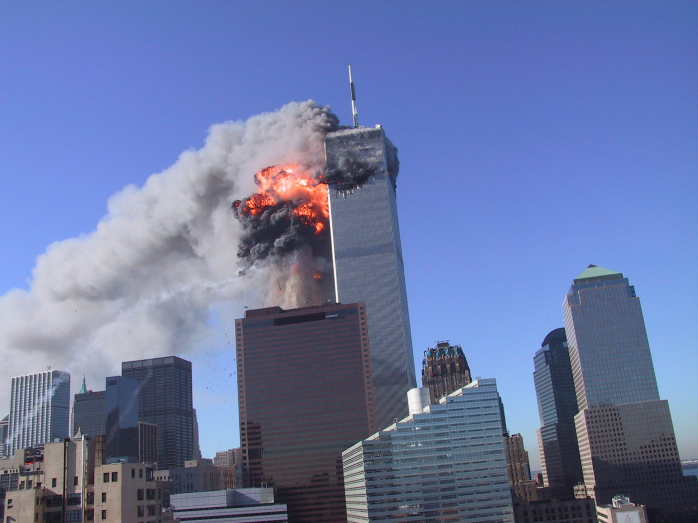 Smoke and Flames Coming out of WTC1 Just After the Plane Hit.JPG