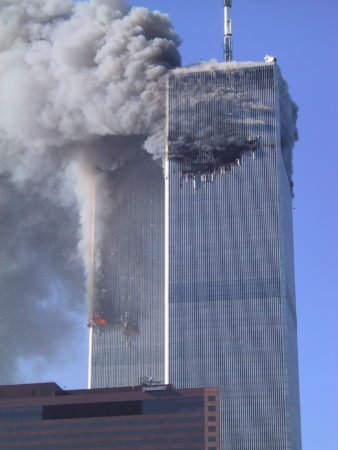 Smoke, Fire, and Debris Falling from WTC 1 _ 2.JPG