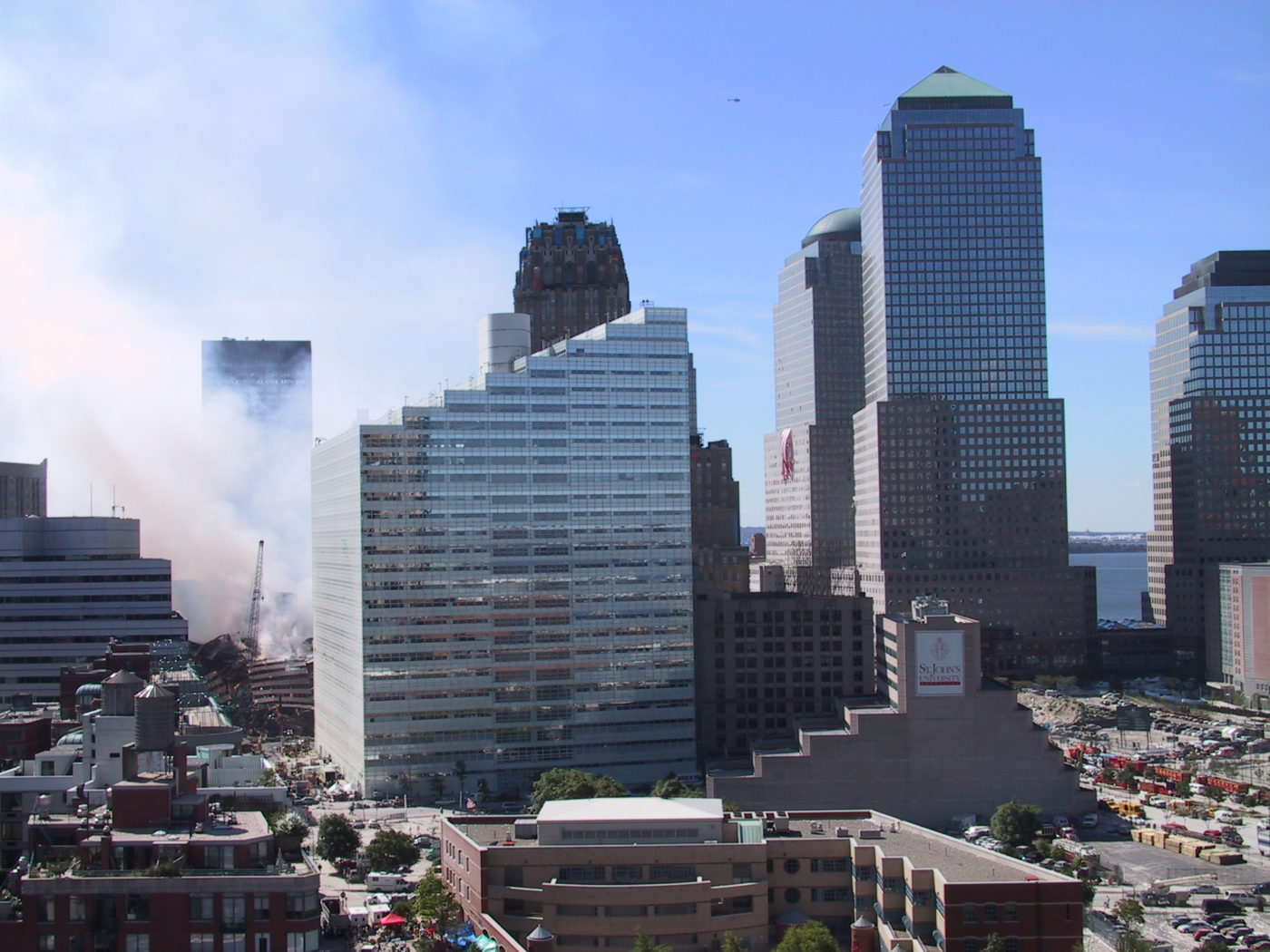 View of Smoke Rising Above Buildings at Ground Zero from 335 Greenwich Street.JPG