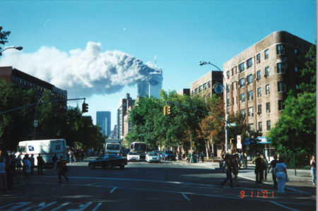 Crowds of New Yorkers Watching the Towers on Burn Looking South From Bleecker Street and 6th Avenue horizontal.jpg