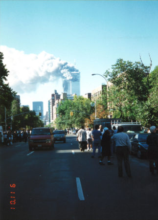 New Yorkers Standing on 6th Avenue Watching the Towers on Fire Verticle View.jpg