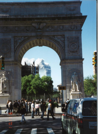 New Yorkers Walking to Washington Sqaure Arch to See Tower 1Smoking.jpg