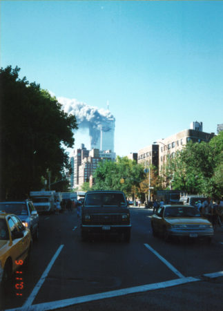 Towers Burning as seen from Bleecker Street and 6th Avenue (4).jpg