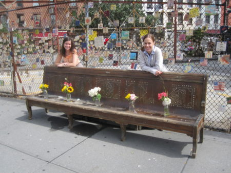 GVSHP Staffers Dana and Elizabeth in Front of Donated Vintage Bench 09_07_2011.JPG