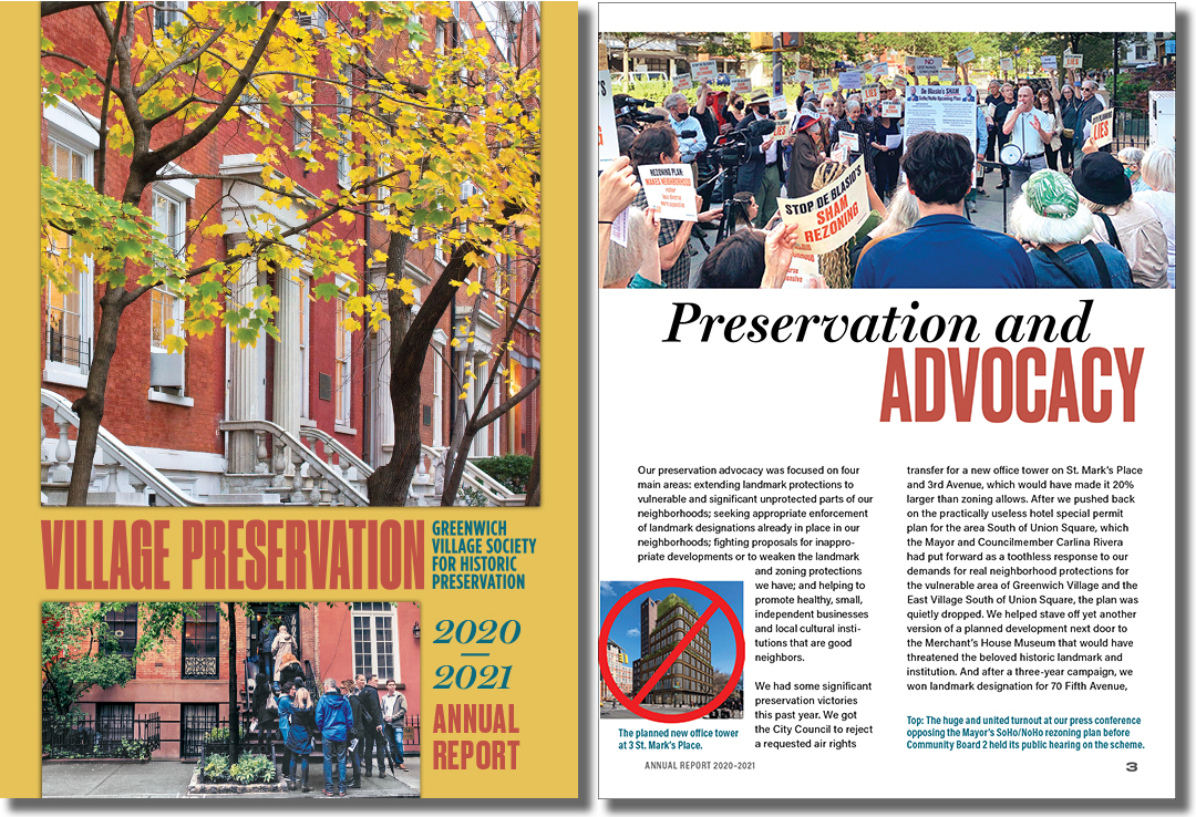 Village Preservation Annual Report 2021 (cover and page 3)