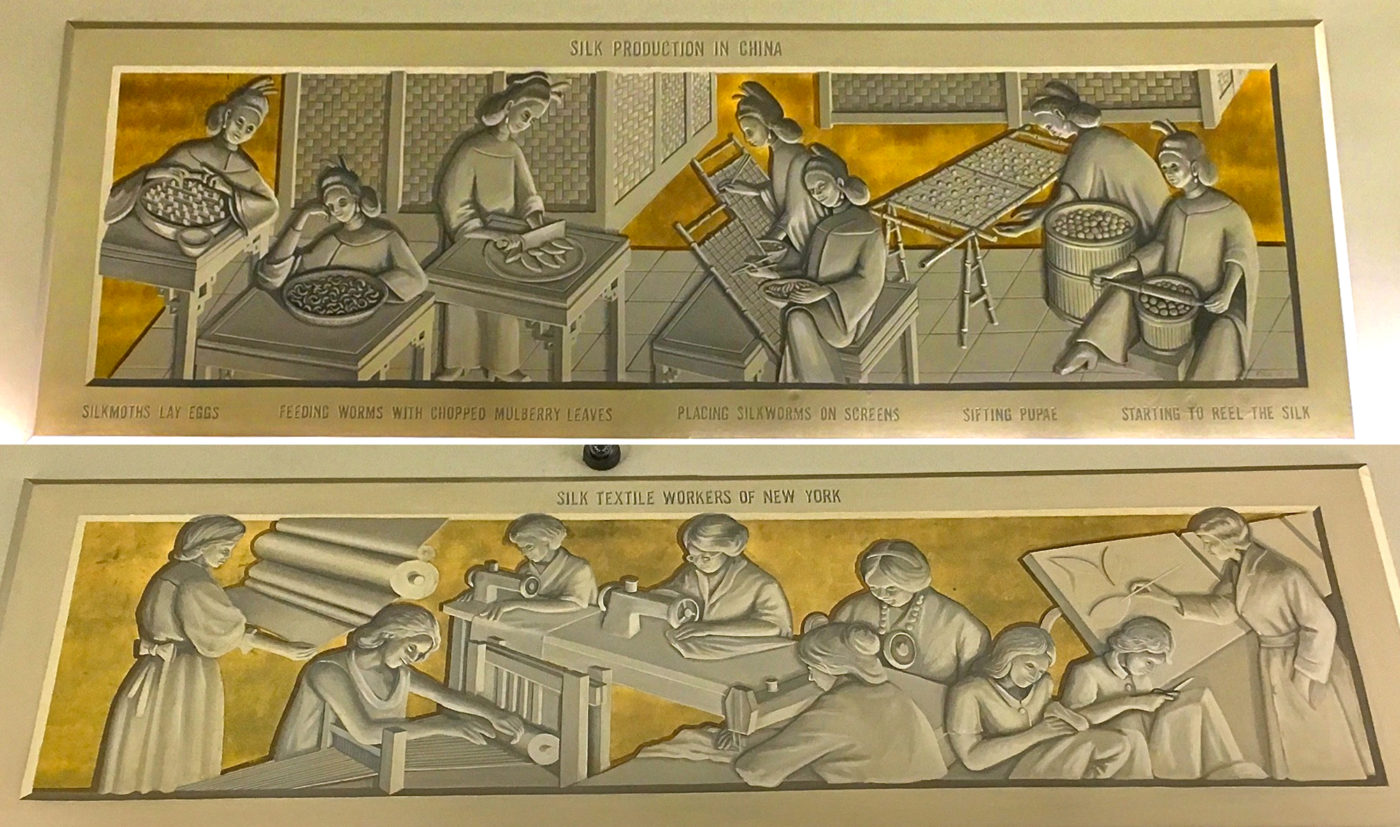 Silk Building, friezes of Chinese silk and female workers via Ephemeral New York