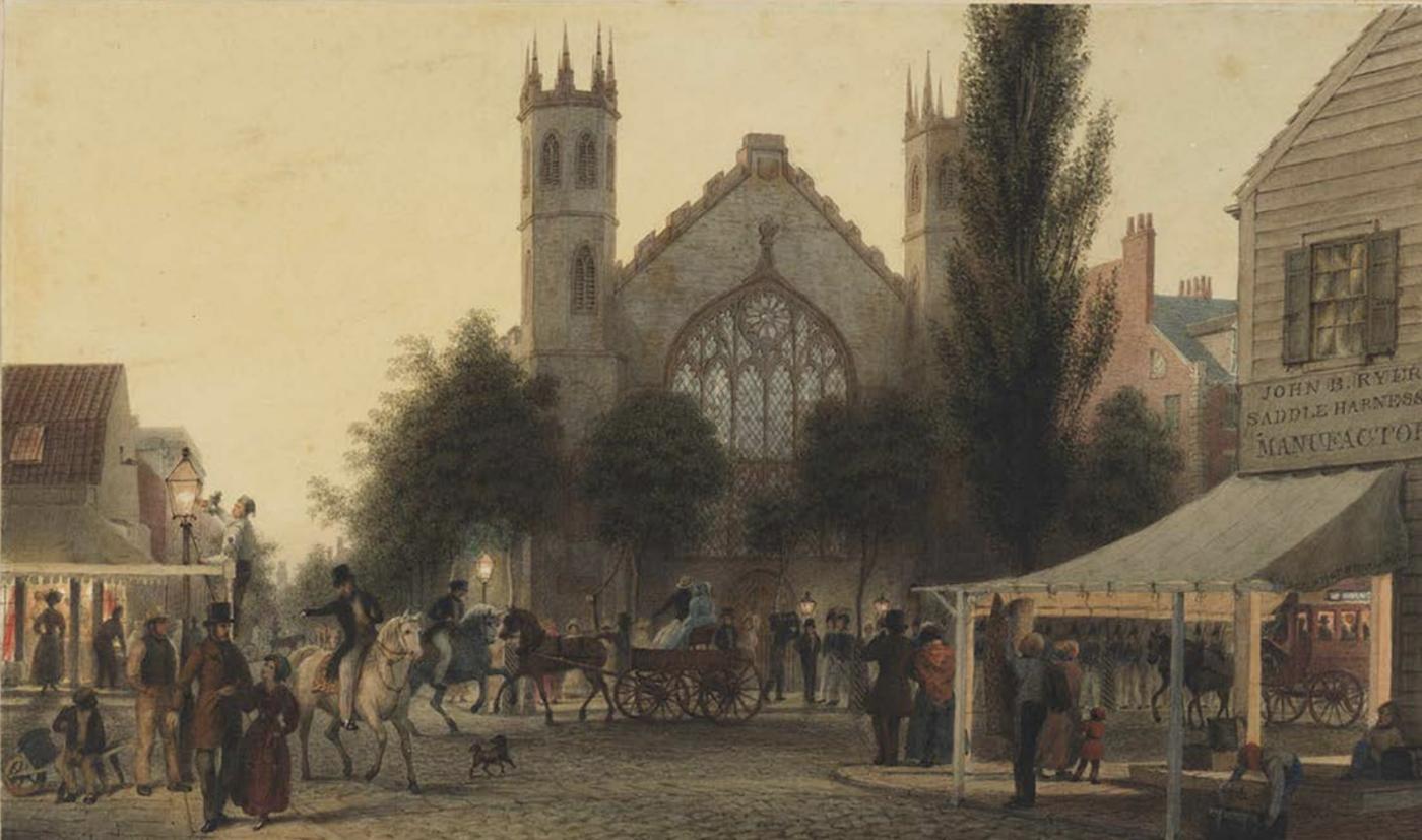 1837, ST. THOMAS CHURCH AT HOUSTON AND BROADWAY by Joseph R. Brady and Rev. John McVickar
