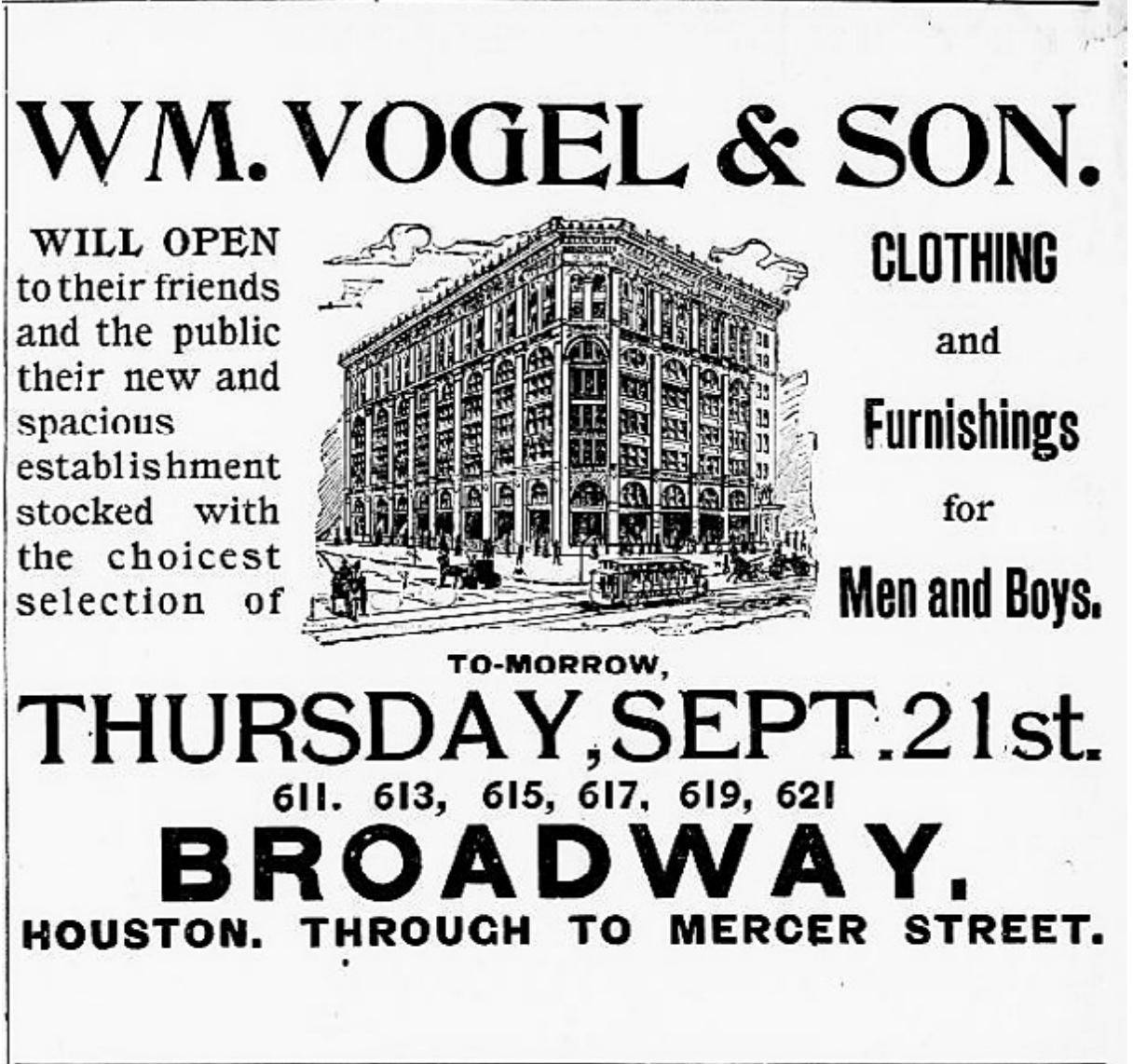 William Vogel & Son's Poster - Opening Date September 21, 1893