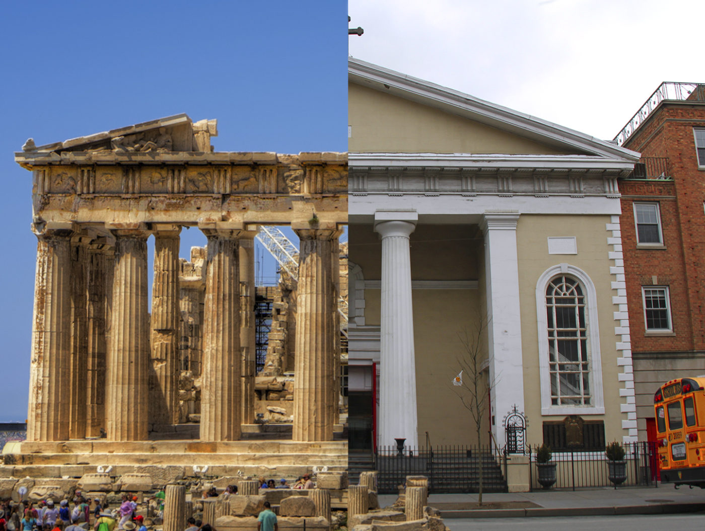 The Parthenon in Greece and St Josephs Church, NYC