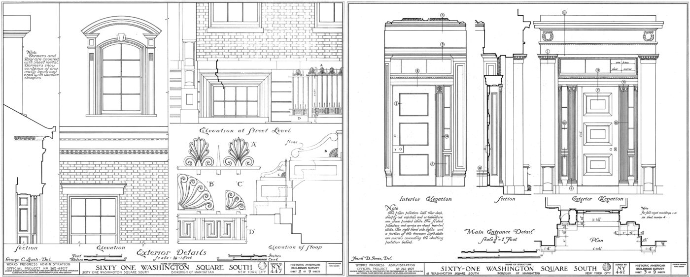61 Washington Square South Exterior Details, from Historic American Building Survey 1933
